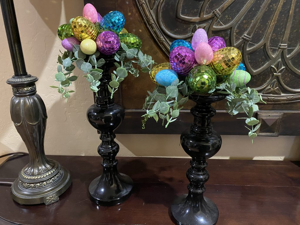 Picture of the candle stick toppers for Easter made by Grama's